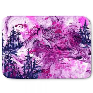 Decorative Bathroom Mats | Julia Di Sano - Worth Having Fuchsia | Abstract nature swirls trees landscape mountains