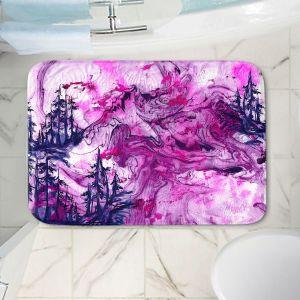 Decorative Bathroom Mats   Julia Di Sano - Worth Having Fuchsia   Abstract nature swirls trees landscape mountains