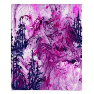 Decorative Fleece Throw Blankets | Julia Di Sano - Worth Having Fuchsia | Abstract nature swirls trees landscape mountains