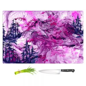 Artistic Kitchen Bar Cutting Boards | Julia Di Sano - Worth Having Fuchsia | Abstract nature swirls trees landscape mountains