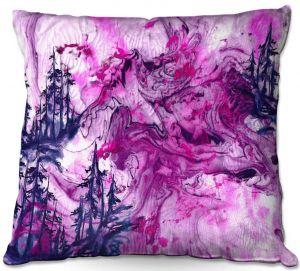 Throw Pillows Decorative Artistic | Julia Di Sano - Worth Having Fuchsia | Abstract nature swirls trees landscape mountains