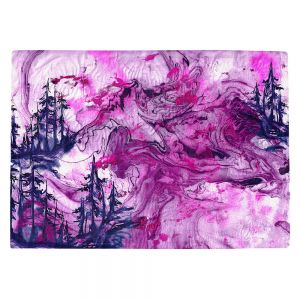 Countertop Place Mats | Julia Di Sano - Worth Having Fuchsia | Abstract nature swirls trees landscape mountains