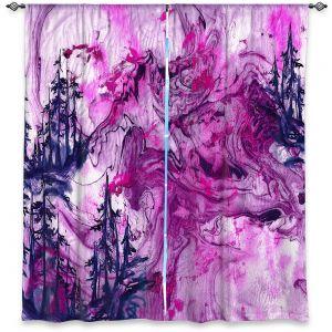 Decorative Window Treatments | Julia Di Sano - Worth Having Fuchsia | Abstract nature swirls trees landscape mountains
