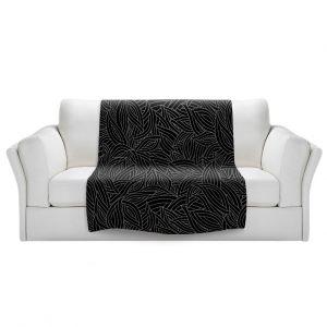 Artistic Sherpa Pile Blankets   Julia Grifol - Black Leaves