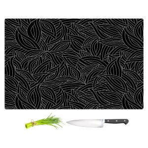Artistic Kitchen Bar Cutting Boards | Julia Grifol - Black Leaves