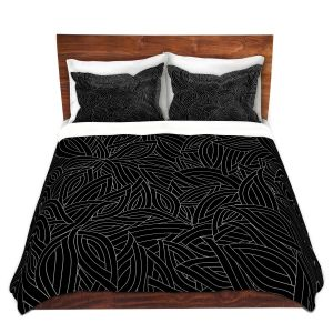 Artistic Duvet Covers and Shams Bedding | Julia Grifol - Black Leaves