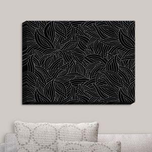 Decorative Canvas Wall Art | Julia Grifol - Black Leaves | Patterns