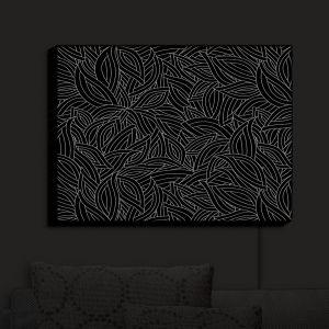Nightlight Sconce Canvas Light | Julia Grifol - Black Leaves | Patterns