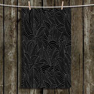 Unique Hanging Tea Towels | Julia Grifol - Black Leaves | Patterns