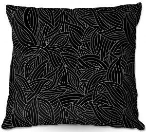 Decorative Outdoor Patio Pillow Cushion | Julia Grifol - Black Leaves