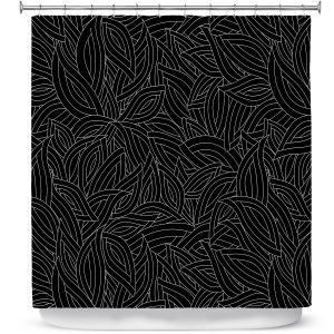 Premium Shower Curtains   Julia Grifol - Black Leaves