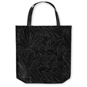 Unique Shoulder Bag Tote Bags | Julia Grifol - Black Leaves
