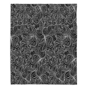 Decorative Fleece Throw Blankets | Julia Grifol - Black Shapes
