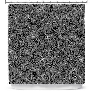 Premium Shower Curtains | Julia Grifol - Black Shapes