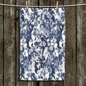 Unique Hanging Tea Towels | Julia Grifol - Blue Butterflies II | Floral Pattern