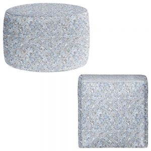 Round and Square Ottoman Foot Stools | Julia Grifol - Blue Flowers I