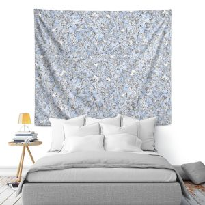 Artistic Wall Tapestry | Julia Grifol Blue Flowers