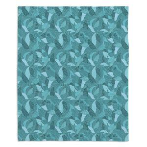 Decorative Fleece Throw Blankets | Julia Grifol - Blue Leaves
