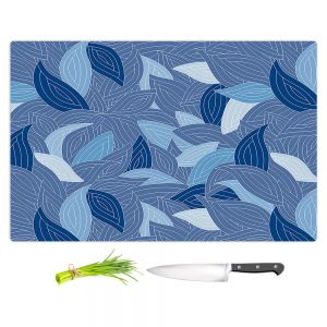 Artistic Kitchen Bar Cutting Boards   Julia Grifol - Blue Leaves Navy