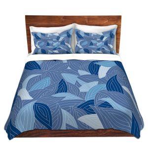 Artistic Duvet Covers and Shams Bedding | Julia Grifol - Blue Leaves Navy