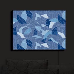 Nightlight Sconce Canvas Light | Julia Grifol - Blue Leaves Navy | Patterns