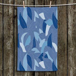 Unique Bathroom Towels | Julia Grifol - Blue Leaves Navy