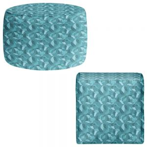 Round and Square Ottoman Foot Stools | Julia Grifol - Blue Leaves I
