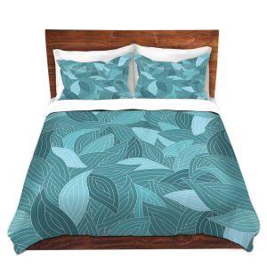 Artistic Duvet Covers and Shams Bedding | Julia Grifol - Blue Leaves II