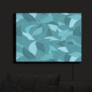 Nightlight Sconce Canvas Light | Julia Grifol - Blue Leaves II | Floral Pattern