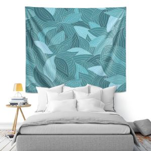 Artistic Wall Tapestry | Julia Grifol Blue Leaves II
