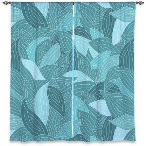 Decorative Window Treatments | Julia Grifol Blue Leaves II