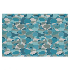 Decorative Floor Covering Mats | Julia Grifol - Bubbles Blue | Shapes pattern colors circles graphic