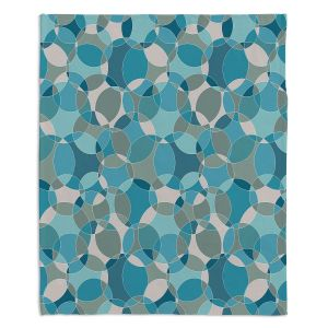 Decorative Fleece Throw Blankets | Julia Grifol - Bubbles Blue | Shapes pattern colors circles graphic
