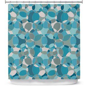Premium Shower Curtains | Julia Grifol - Bubbles Blue | Shapes pattern colors circles graphic