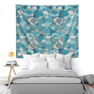 Artistic Wall Tapestry | Julia Grifol - Bubbles Blue | Shapes pattern colors circles graphic