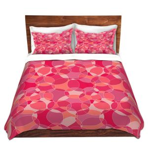 Artistic Duvet Covers and Shams Bedding | Julia Grifol - Bubbles Pinks | Shapes pattern colors circles graphic