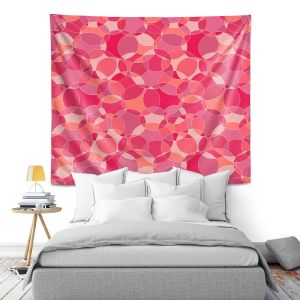 Artistic Wall Tapestry | Julia Grifol - Bubbles Pinks | Shapes pattern colors circles graphic
