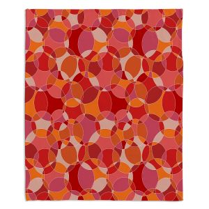 Decorative Fleece Throw Blankets | Julia Grifol - Bubbles Red | Shapes pattern colors circles graphic