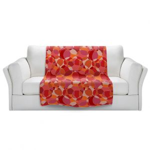Artistic Sherpa Pile Blankets | Julia Grifol - Bubbles Red | Shapes pattern colors circles graphic