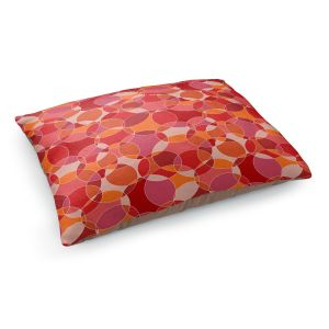 Decorative Dog Pet Beds | Julia Grifol - Bubbles Red | Shapes pattern colors circles graphic