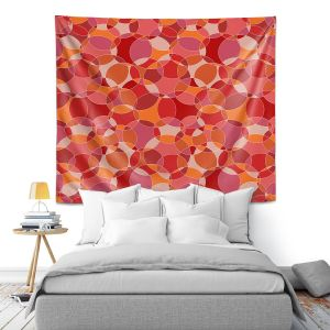 Artistic Wall Tapestry | Julia Grifol - Bubbles Red | Shapes pattern colors circles graphic