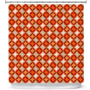 Premium Shower Curtains | Julia Grifol - Circles Red