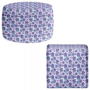 Round and Square Ottoman Foot Stools | Julia Grifol - Flowers Mix I