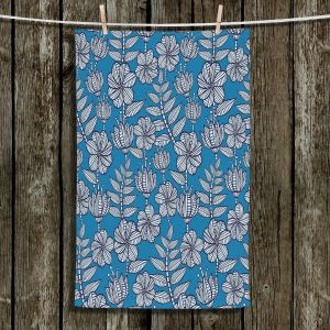 Unique Bathroom Towels | Julia Grifol - Kenia Blue | Flowers nature pattern leaves branches