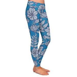 Casual Comfortable Leggings | Julia Grifol - Kenia Blue | Flowers nature pattern leaves branches