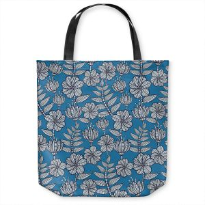 Unique Shoulder Bag Tote Bags | Julia Grifol - Kenia Blue | Flowers nature pattern leaves branches