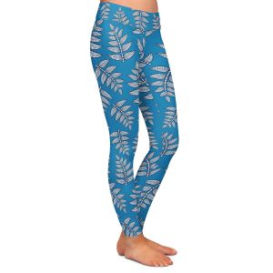 Casual Comfortable Leggings | Julia Grifol - Kenia Leaves Blues | Flowers nature pattern leaves branches