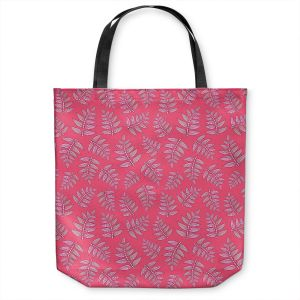 Unique Shoulder Bag Tote Bags | Julia Grifol - Kenia Leaves Pink | Flowers nature pattern leaves branches