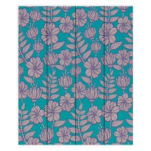 Decorative Wood Plank Wall Art | Julia Grifol - Kenia 1 Green | Flowers nature pattern leaves branches