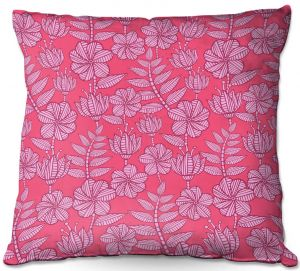 Throw Pillows Decorative Artistic | Julia Grifol - Kenia 1 Pink | Flowers nature pattern leaves branches
